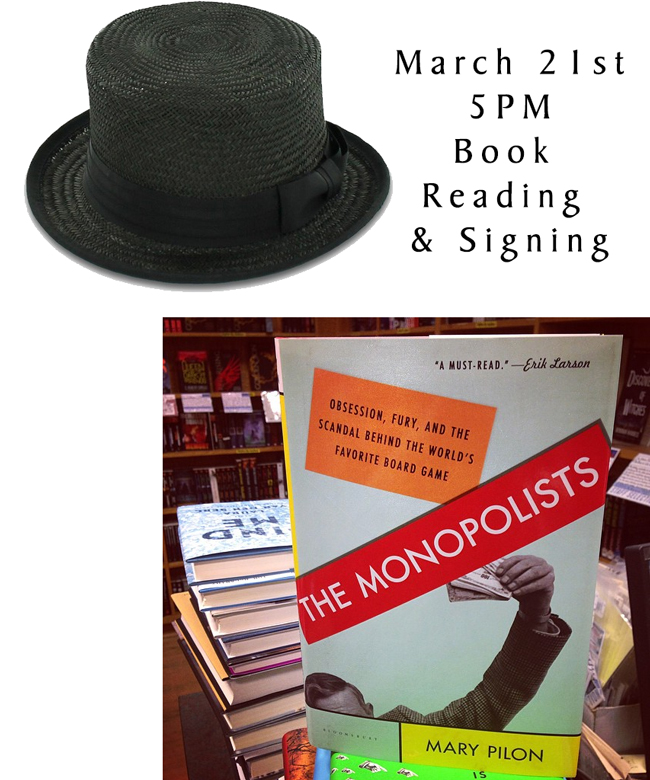 March 21st – Book Reading and Author Signing of The Monopolists