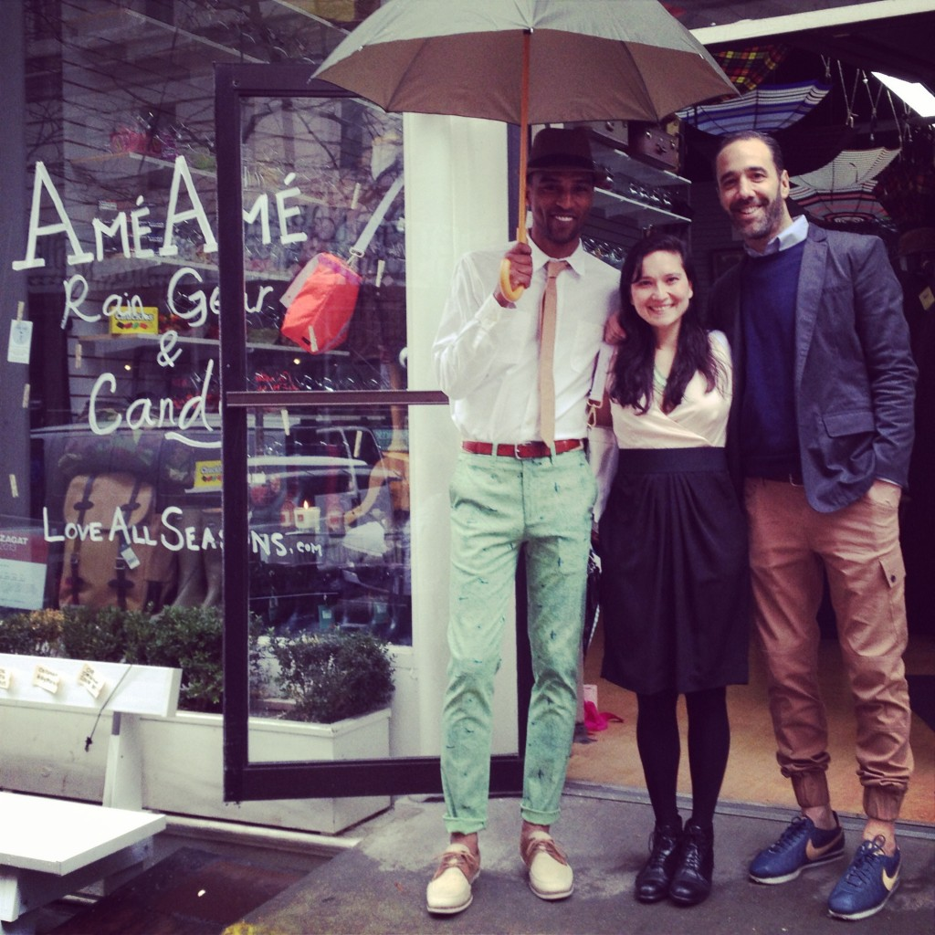 The New Standard Edition's sexy model modeling a sexy Ame Ame umbrella, Teresa Soroka, founder of Ame ame, and Evan Josloff, founder of New Standard Edition showing men how they can wear sneakers and actually look styl'n.